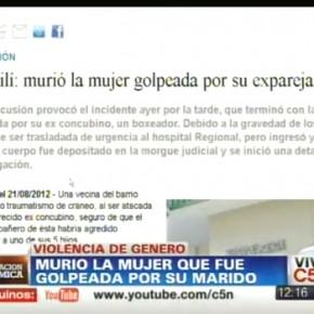 Violencia de género – Mujer golpeada, C5N,  Argentina, 19-8-2012